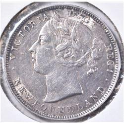 1900 NEWFOUNDLAND SILVER 20 CENT BU