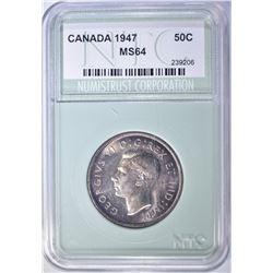 1947 CANADA SILVER HALF DOLLAR NTC CH/GEM BU