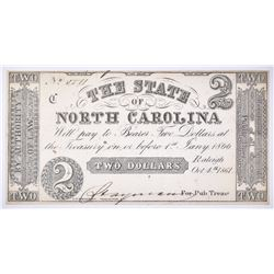 1861 $2 STATE OF NORTH CAROLINA CIVIL WAR