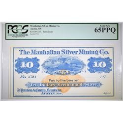 $10 MANHATTAN SILVER MINING CO. PCGS 65 PPQ