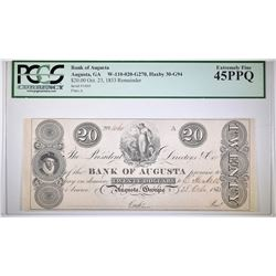1833 $20 BANK OF AUGUSTA, GA PCGS 45 PPQ
