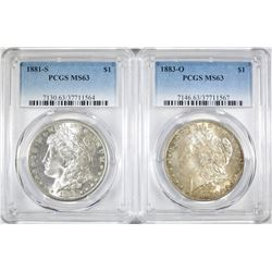 2 PCGS MS-63 MORGAN DOLLARS:  1883-O & 1881-S