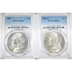 2 PCGS MS-63 MORGAN DOLLARS:  1884-O & 1887