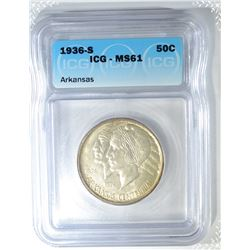 1936-S ARKANSAS COMMEM HALF DOLLAR ICG MS-61