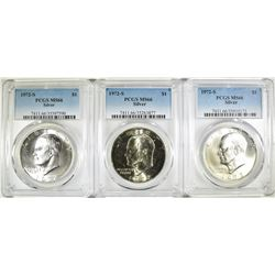 3 1972-S EISENHOWER DOLLARS PCGS MS-66