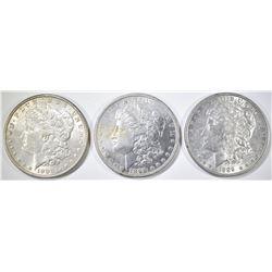 3 MORGAN DOLLARS BORDERLINE UNC