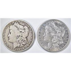 2 MORGAN DOLLARS 1901-S VG, 1900-O XF/AU