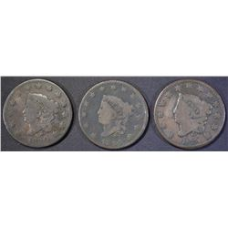 1820 VG, 1824 VG, 1829 VG LARGE CENTS