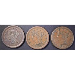 1852, 54 & 55 XF LARGE CENTS