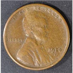 1923-S LINCOLN CENT, AU