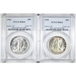 1941 & 42 WALKING LIBERTY HALVES PCGS MS-64