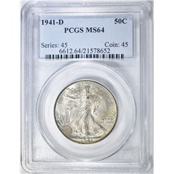 1941-D WALKING LIBERTY HALF PCGS MS-64