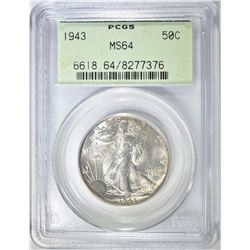 1943 WALKING LIBERTY HALF PCGS MS-64