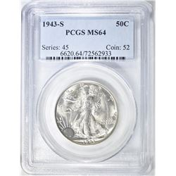 1943-S WALKING LIBERTY HALF PCGS MS-64