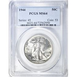 1944 WALKING LIBERTY HALF PCGS MS-64