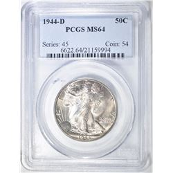 1944-D WALKING LIBERTY HALF PCGS MS-64