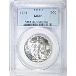 1945 WALKING LIBERTY HALF PCGS MS-64