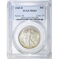 1945-D WALKING LIBERTY HALF PCGS MS-64