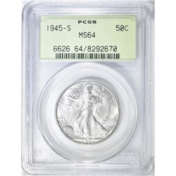 1945-S WALKING LIBERTY HALF PCGS MS-64