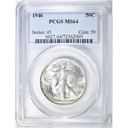 1946 WALKING LIBERTY HALF PCGS MS-64