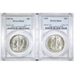 1947-P,D WALKING LIBERTY HALVES PCGS MS-64