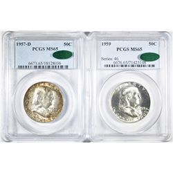 1957-D & 59 FRANKLIN HALF DOLLARS PCGS MS-65 CAC