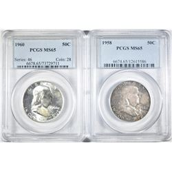 1958 & 60 FRANKLIN HALF DOLLARS PCGS MS-65