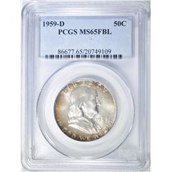 1959-D FRANKLIN HALF DOLLAR PCGS MS-65 FBL