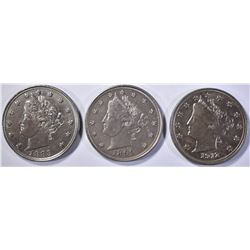 1883, 1899 & 1912 LIBERTY HEAD NICKEL  CH BU