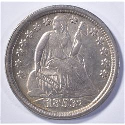 1853 ARROWS SEATED LIBERTY DIME AU