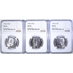 (3) 1982-D KENNEDY HALF DOLLARS  NGC MS-66