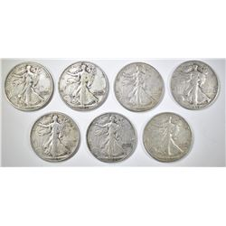 7-VF/XF WALKING LIBERTY HALF DOLLARS
