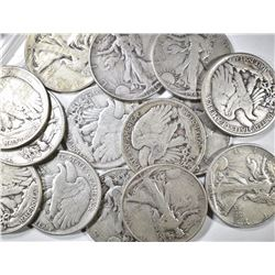 14 CIRC WALKING LIBERTY HALF DOLLARS: