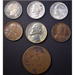 (7) MIXED COIN LOT: 2-1909 LINCOLN CENT,