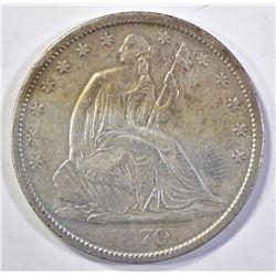 1870-S SEATED HALF DOLLAR, AU