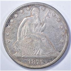 1875 SEATED HALF DOLLAR, AU/BU