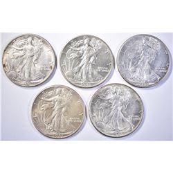 (5) WALKING LIBERTY HALF DOLLARS  (2) 1941,