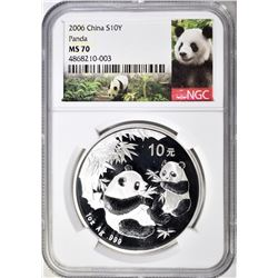 2006 1oz SILVER CHINESE PANDA, NGC MS-70