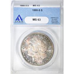 1880-S MORGAN DOLLAR, ANACS MS-63