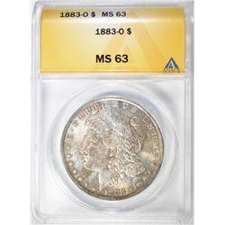 1883-O MORGAN DOLLAR, ANACS MS-63