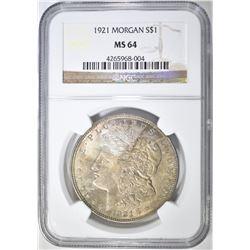 1921 MORGAN DOLLAR, NGC MS-64 COLOR