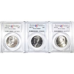 3-PCGS GRADED SATIN FINISH KENNEDY HALF DOLLARS: