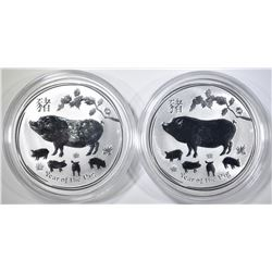 2-2019 AUSTRALIAN 1oz YEAR OF THE PIG COINS