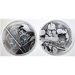 2-NIUE 1oz SILVER STAR WARS COINS