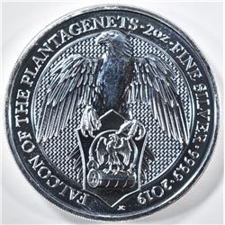2019 QUEENS BEAST 2oz SILVER FALCON COIN