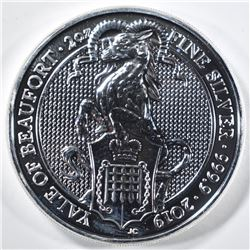 2019 QUEENS BEAST 2oz SILVER YALE OF BEAUFORD COIN