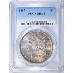 1887 MORGAN DOLLAR PCGS MS-64