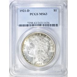 1921-D MORGAN DOLLAR PCGS MS-63