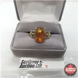 Ring - Size 10: Baltic Amber 14k Overlay Platinum