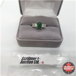 Ring - Size 5: Simulated Emerald - Stainless
